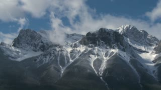 Rocky Mountain cloud time lapse of range above Canmore, Alberta, Canada