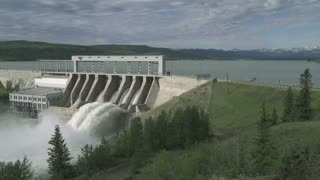 The Ghost hydroelectric dam and reservoir on the Bow River, Alberta, Canada