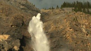 Tilt down shot of Takkakaw Falls in Yoho National Park, British Columbia, Canada