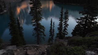 Tilt up to Evening Light on Moraine Lake, Banff, Alberta