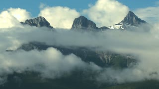 Time Lapse of clouds around The Three Sisters mountain group, Canadian Rockies