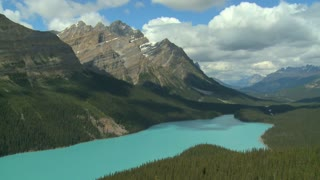 Time lapse of clouds over Peyto Lake, Banff, Alberta, Canada
