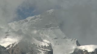Time lapse of clouds over the summit of Mount Rundle near Banff, Alberta