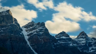 Time lapse of clouds passing over high mountain peaks. Valley of the Ten Peaks above Moraine Lake, Banff, Alberta, Canada
