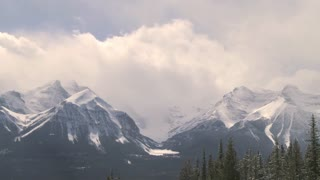 Time lapse of clouds passing over Mount Temple in the Canadian Rockies