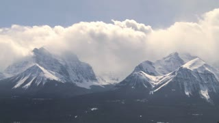 Time lapse of clouds passing over Mount Temple in the Rocky Mountains of Canada