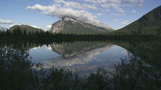 Time lapse of Mount Rundle reflected in the Vermilion Lakes, Banff, Alberta, Canada