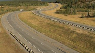 Truck on the transcanada highway, Alberta, Canada