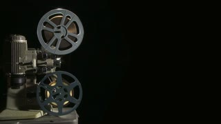 Vintage 16mm film projector with copy space