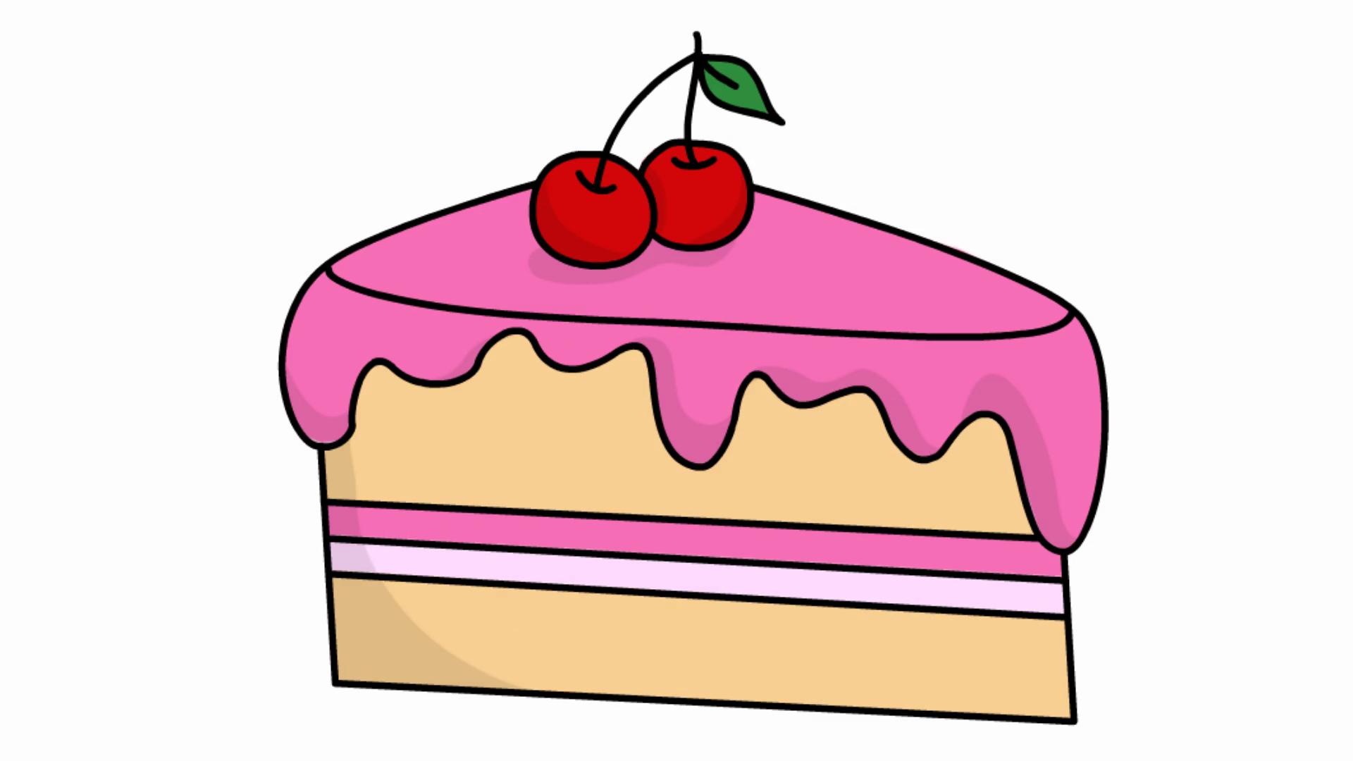 Cake Slice sketch illustration hand drawn animation ...