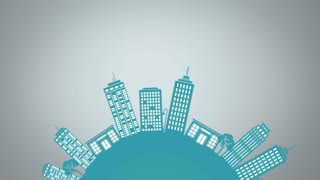 City SkyLine Loop animation for presentation and videos