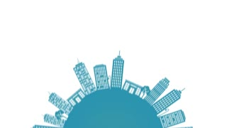 double City SkyLine Loop animation for presentation and videos