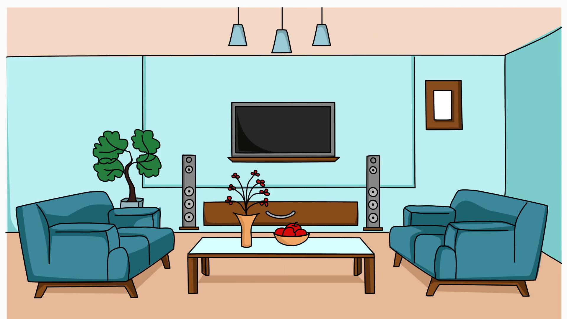 living room sketch illustration hand drawn animation ...