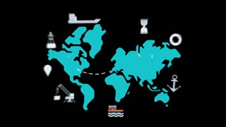 maritime shipment - colored animated flat computer generated icons clips alpha