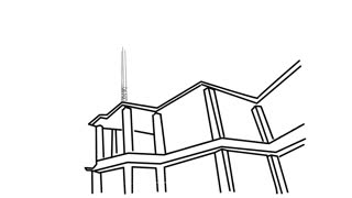 skyscraper building under construction. post concrete filling. Line drawing sketch animation with transparent background