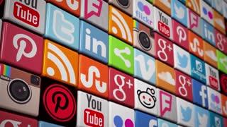 Social Media Wall - color flooring social media icons