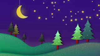 Christmas Night Scenery Video Motion Graphics Animation Background Loop HD