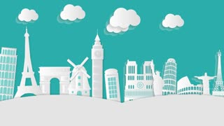 City Building in Europe Video Motion Graphics Animation Background Loop HD