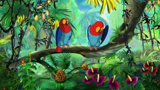 Colorful Macaw Parrots sitting on a bench. Handmade animation in UHD.