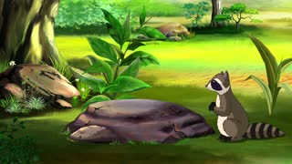 Curious Raccoon Saw a Butterfly in a Forest Glade. Handmade animated  UHD motion graphic.