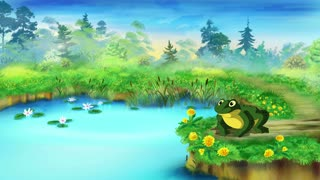 Green Frog Sitting and Croaking Near the Pond in a Summer day. Handmade animated  UHD motion graphic.