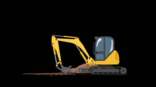 Industrial Excavator Digging Hole. Animation with Alpha Channel