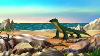 Komodo dragon walks along a beach