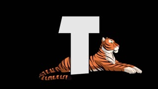 Letter T and  Tiger (background)