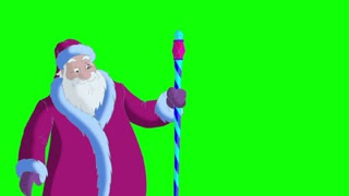 Santa Claus Blowing Snow on Green Screen