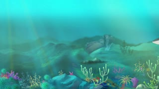 Shark Attack. Big shark swimming in a ocean. Sudden shark attack. Full color handmade animation in HD