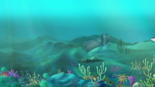 Shark Swimming. Big shark swimming in a ocean. Full color handmade animation in HD