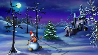 Snowman and Christmas Tree near a Magic Castle in 4K