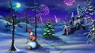 Snowman and Christmas Tree New Year Celebration 4K