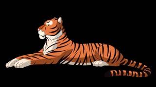 Big Tiger Lies and Growls Alpha Matte