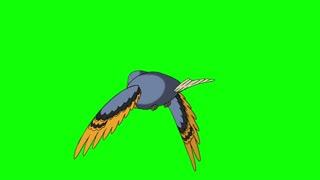 Blue Bird Flies. Back View