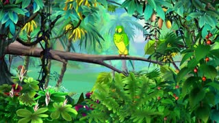 Green Parrot in a Jungle UHD