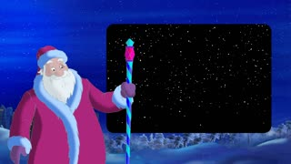 Santa Claus Blowing Wind with Alpha Channel Frame