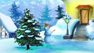 Wonderful Christmas Day with Snowman and Christmas Tree
