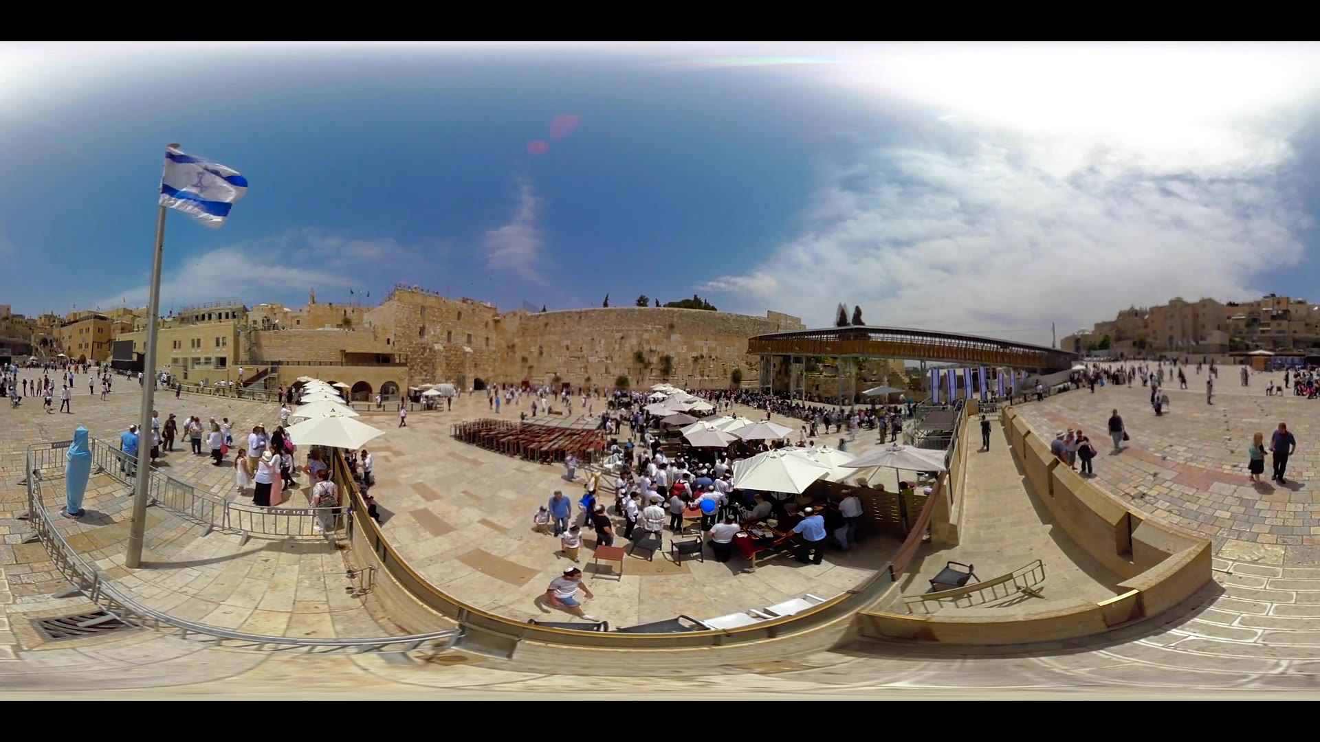 Jerusalem, Israel - May 9, 2016: 360VR video of Jewish prayers at the Western wall in the old city of Jerusalem Israel.