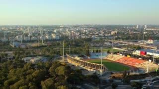 Aerial view of cityscape of Ramat Gan and Tel aviv. Places like Ramat Gan Stadium, Hayarkon Park, Ayalon Mall, Industrial Zone of Bnei Brak, Ramat Hahayal neighborhood of Tel Aviv.