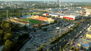 Aerial view of cityscape of Ramat Gan and Tel aviv. Places like Ramat Gan Stadium, Hayarkon Park, Ayalon Mall, Industrial Zone of Bnei Brak, Ramat Hahayal neighborhood of Tel Aviv.