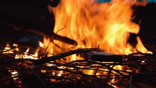 Campfire with burning wood and twigs at twilight. Man arranges the fire with a stick