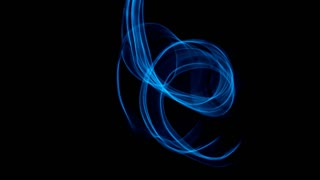 Glowing abstract curved blue lines - Light painted 4K video timelapse