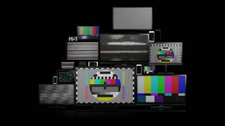 Many different types of screens. TVs, computer monitors, smartphones and tablets. They laid on each other in a pile isolated on a white background. They are all with no signal. With alpha and zoom in.