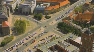 Aerial view of cars in a road junction in a street of Berlin city