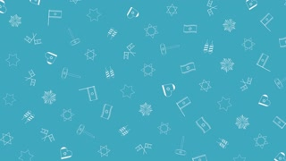Israel Independence Day holiday flat design animation background with traditional outline icon symbols. loop with alpha channel.