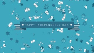 "Israel Independence Day holiday flat design animation background with traditional symbols with text in english ""Happy Independence Day"". loop with alpha channel."