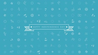 "Israel Independence Day holiday flat design animation background with traditional outline icon symbols with text in english ""Happy Independence Day"". loop with alpha channel."