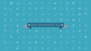 """Israel Independence Day holiday flat design animation background with traditional outline icon symbols with text in english """"Happy Independence Day"""". loop with alpha channel."""