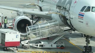 Baggage Unloading From Airplane in Airport After Landing